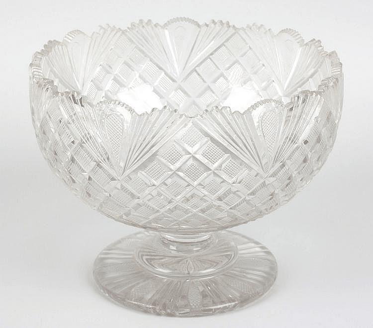 A 19th century cut glass pedestal bowl