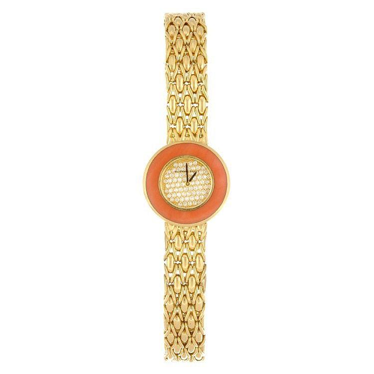 (116190076) An 18k gold quartz lady's Audemars Piguet bracelet watch.