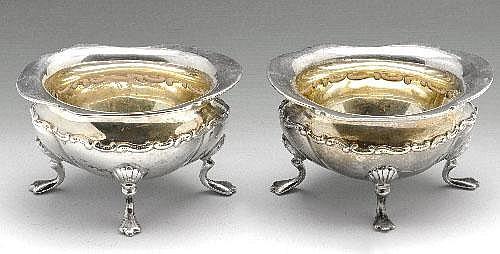 Victorian silver open salts, cream jug, etc.