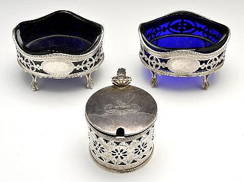Victorian silver pair of open salts & a slightly later mustard pot.