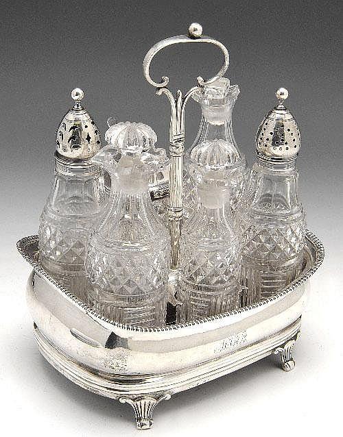 George III silver cruet stand.