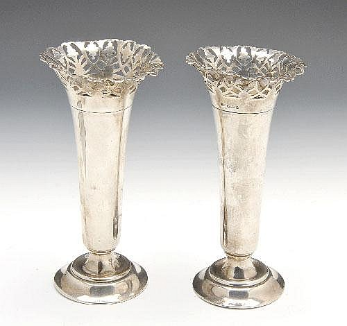Edwardian silver pair of vases.