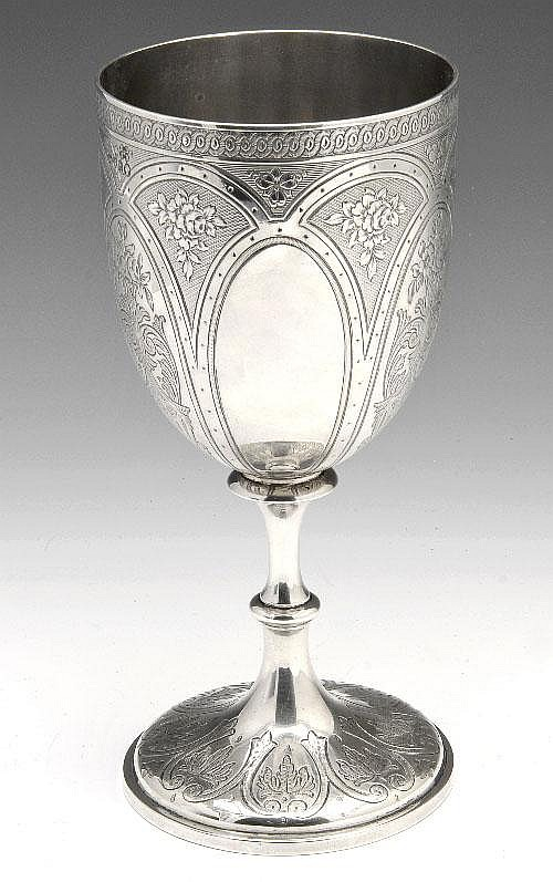 Victorian silver goblet.
