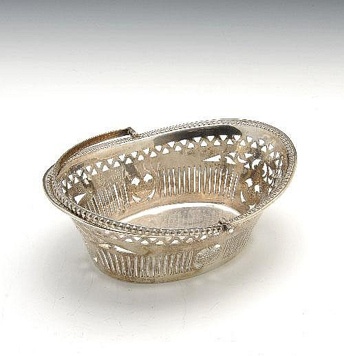 Late Victorian silver sweetmeat basket.