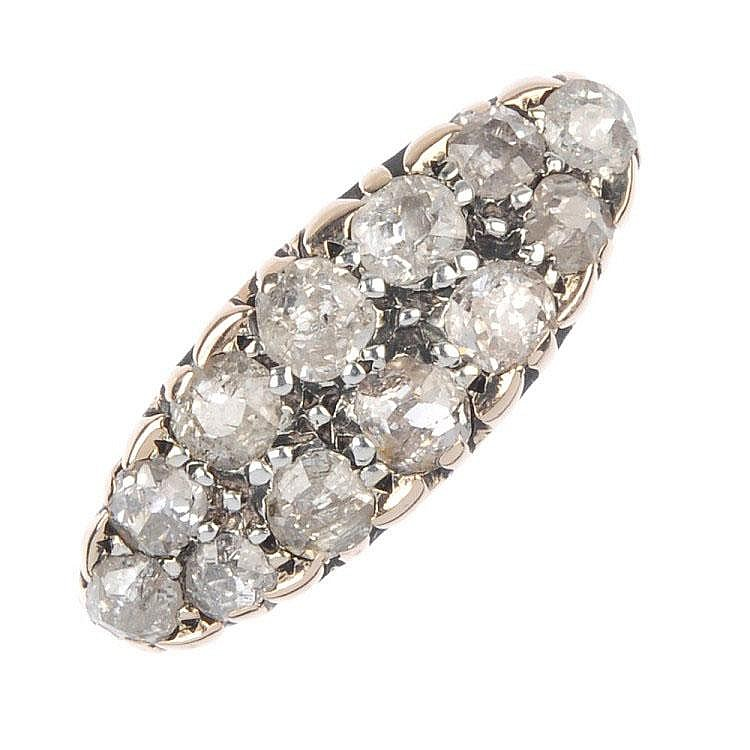 A mid 20th century 15ct gold diamond dress ring.