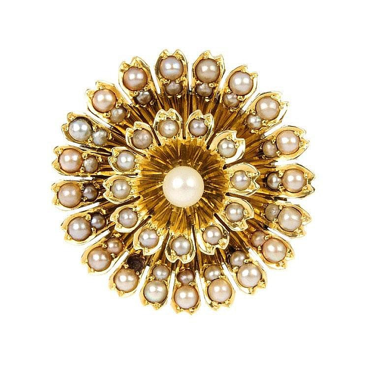 A mid 20th century gold seed pearl floral cluster brooch.