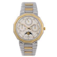 BAUME & MERCIER - a gentleman's Riviera Calendar Moonphase bracelet watch.