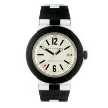 BULGARI - a gentleman's Diagono Aluminium wrist watch. Aluminium case with