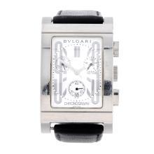 BULGARI - a gentleman's Rettangolo chronograph wrist watch. Stainless steel
