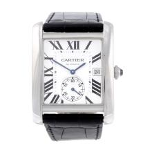 CARTIER - a Tank MC wrist watch. Stainless steel case with exhibition case