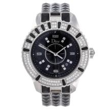 DIOR - a lady's Christal bracelet watch. Stainless steel case with factory