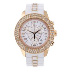 DIOR - a lady's Christal chronograph wrist watch. 18ct rose gold case with