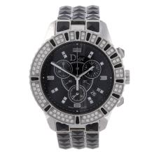 DIOR - a lady's Christal chronograph bracelet watch. Stainless steel case w