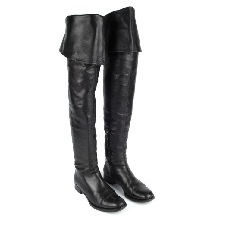 prada a pair of black leather thigh high boots crafted fr