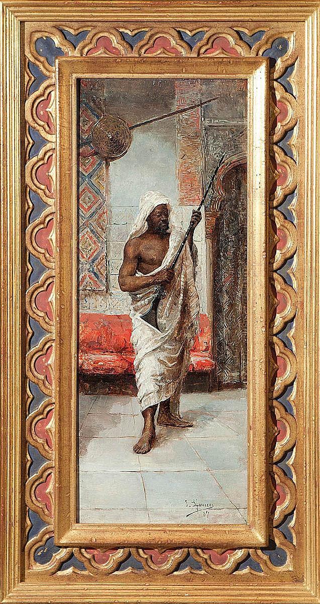 JOSE LLANECES (Madrid, 1863 - 1919) Óleo sobre tabla firmado. Influencia de Fortuny en técnica y temática orientalista.