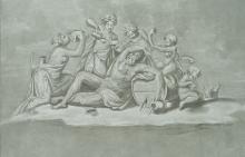 MULINARI; VAGA, drinking binge with the wine god Bacchus, 19th century, Lithograph
