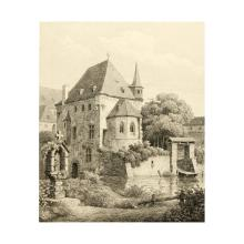 R.WIEGMANN (*1804) after BUDDEUS (*1812), Marian shrine and chapel by the river, Etching