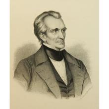 M.LÄMMEL(*1849), Austrian national poet Grillparzer (*1791), 19th c., Engraving