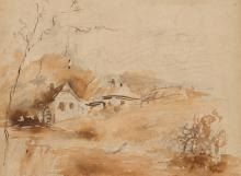 Jules Cayron (1861 (1871?)-1940 (1944/45?)), Landscape with houses and trees, c. 1900, Brown ink