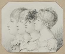 J.VON EGLOFFSTEIN(*1792), Portrait with Four Children, 1852, Pencil drawing