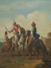 G.ZAIS(*1709), Three oriental horsemen, 18th century, Oil on canvas