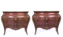 PAIR OF ITALIAN HARD PAINTED 2 DRAWER COMMODES