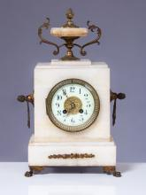 ANTIQUE FRENCH & BRONZE ALABASTER MANTLE CLOCK