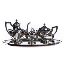 STERLING SILVER 5 PIECE COFFEE SET WITH TRAY