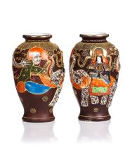 PAIR OF JAPANESE SATSUMA STYLE VASES