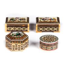 LOT OF 4 HAND PAINTED BOXES