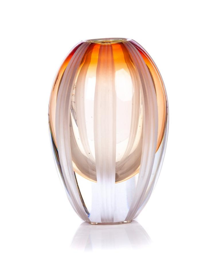 Evolution By Waterford Amber Crystal Vase