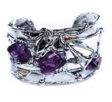 HAND MADE AMETHYST AND SILVER CUFF