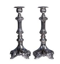 MONUMENTAL ANTIQUE GERMAN SABBATH CANDLESTICKS