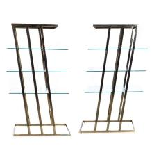 PAIR OF BRASS AND GLASS ETAGERE