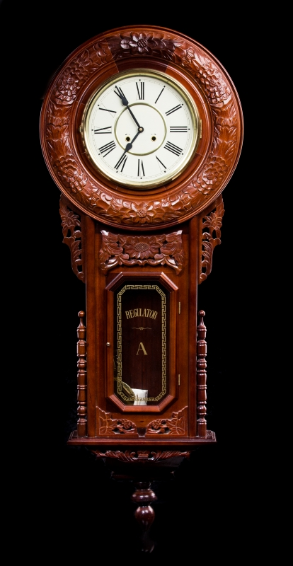 Large Mahogany Regulator Round Wall Clock