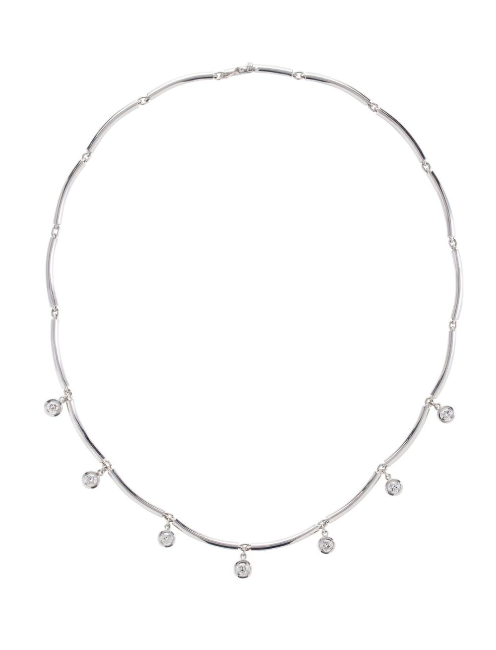 18k White Gold And Diamond Choker Necklace