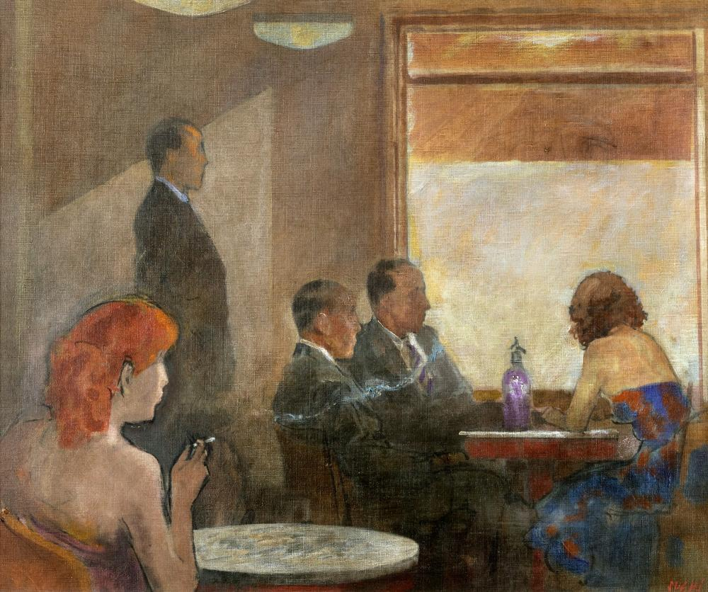 Alberto Sughi (Cesena 1928-Bologna 2012) - Cafe interior, 1998