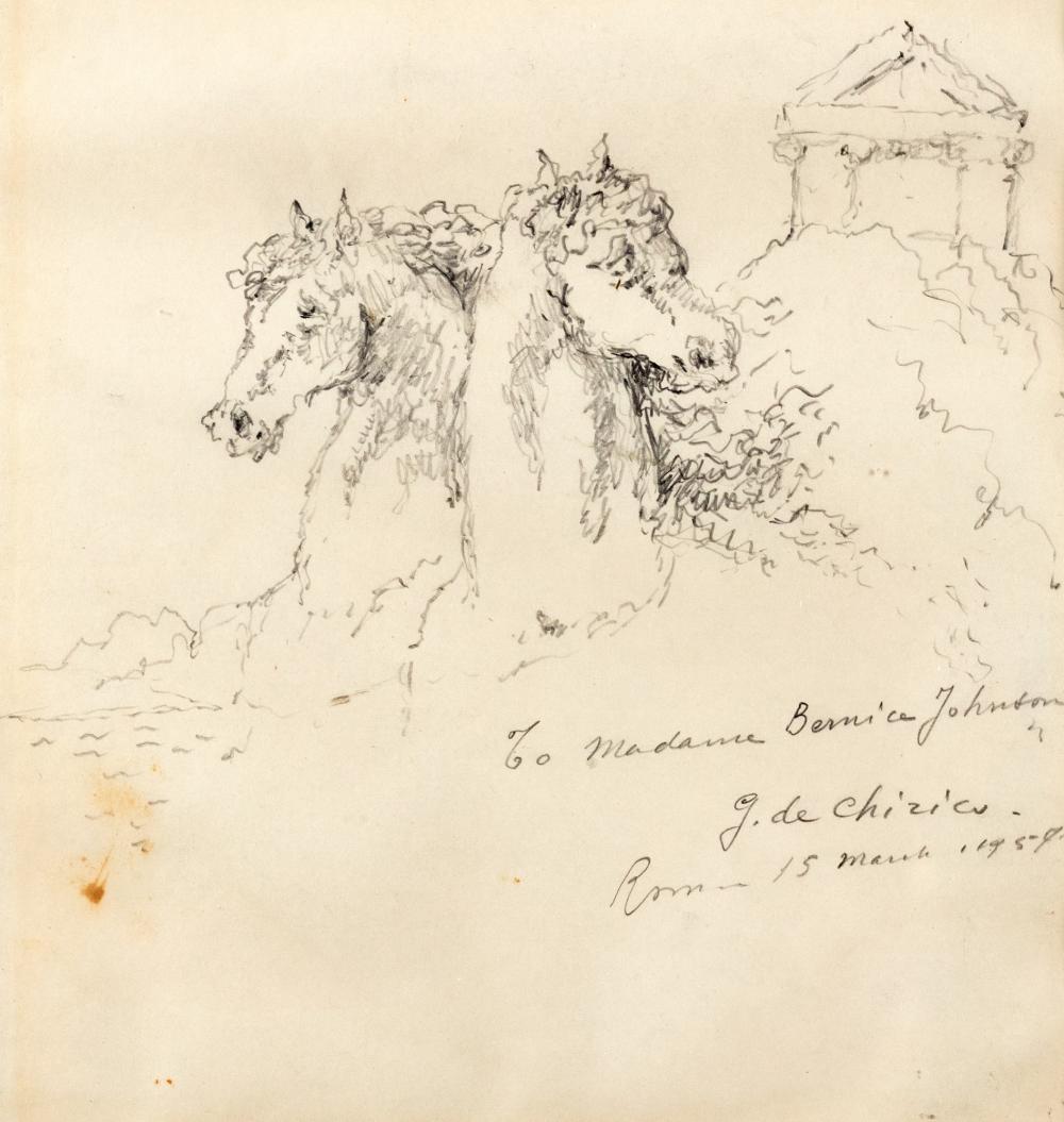 Giorgio de Chirico (Volos 1888-Roma 1978) - Two horses, 1957