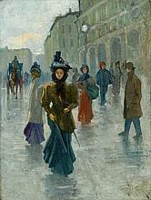 Passeggio in una giornata di pioggia in via Grande a Livorno