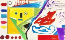 Pablo Echaurren (Roma 1951) - Red orange, solferino blue