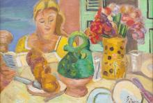 Louis LATAPIE (1891-1972) - Femme au bouquet (1927)