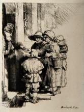 Amand Durand (After Rembrandt) Beggers Receiving Alms...Etching