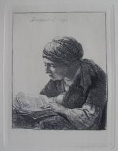 Amand Durand (After Rembrandt)A Young Woman Reading Etching