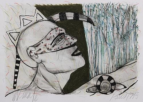 Man in dotted mask and snail, 1995