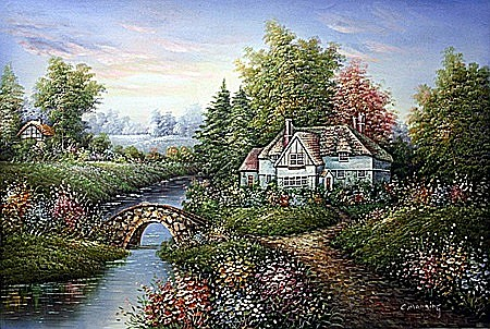 Original Oil on Canvas. Cottage by C. Manning