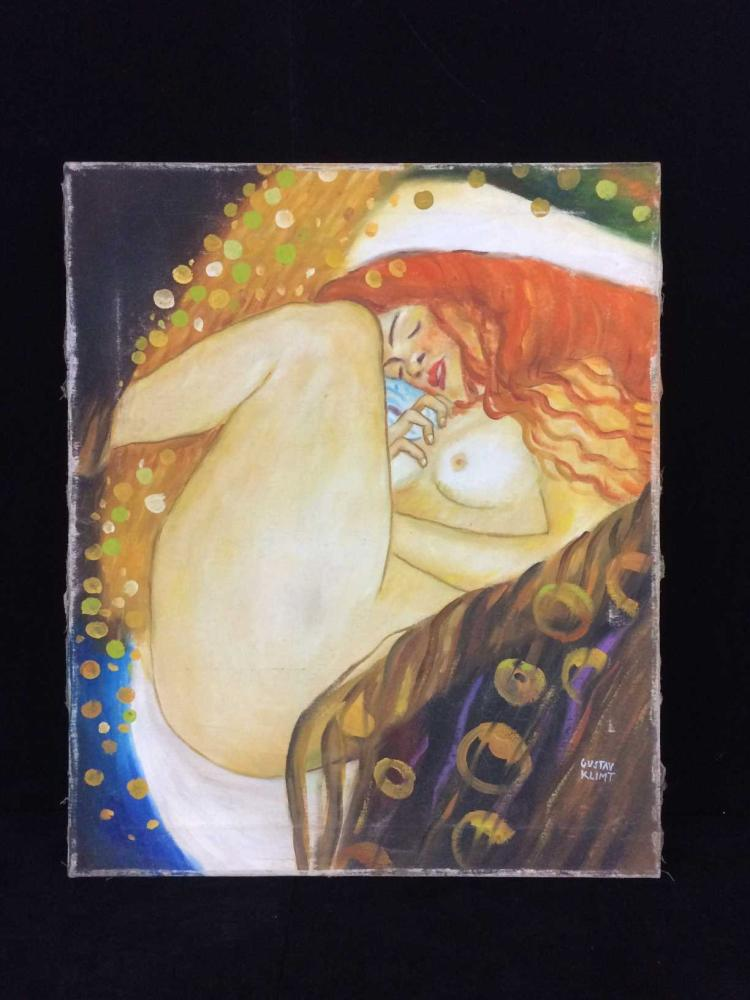 Original oil on canvas signed 39 gustav klimt 39 1862 1918 a for Gustav klimt original paintings for sale
