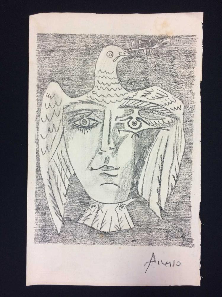 Original Graphite/Pencil on Paper Signed 'Picasso' -- Peace