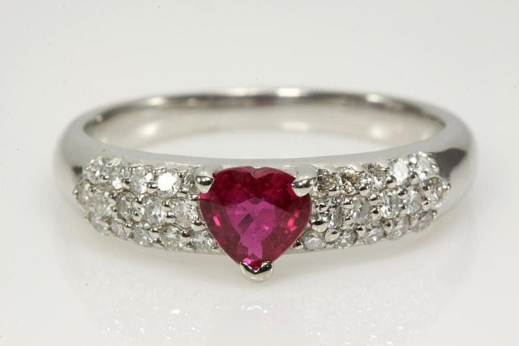 Ruby 0.48ct and Diamond Ring