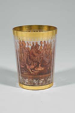 Becher Pohl Haida Glass Beaker Zwischengold Old