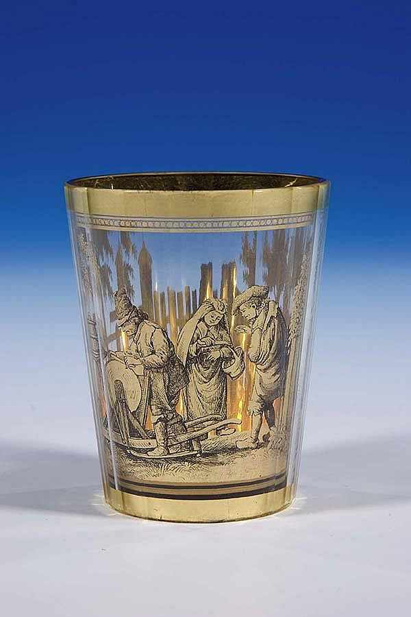 Zwischengold Becher Pohl Haida Glass Beaker Old